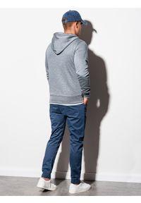 Ombre Clothing - Bluza męska rozpinana z kapturem B977 - szary melanż V - XXL. Typ kołnierza: kaptur. Kolor: szary. Materiał: poliester, bawełna. Wzór: melanż. Styl: klasyczny