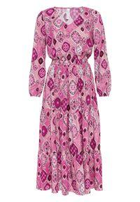 Różowa sukienka bonprix maxi, z nadrukiem, z długim rękawem, z dekoltem w serek