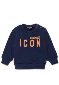 DSQUARED2 KIDS - Granatowa bluza Icon 0-3 lat. Typ kołnierza: kaptur. Kolor: niebieski. Materiał: bawełna. Wzór: napisy. Sezon: lato. Styl: klasyczny