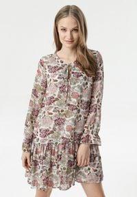 Born2be - Kremowo-Bordowa Sukienka Pirenos. Kolor: beżowy. Materiał: jeans, poliester. Wzór: kwiaty. Typ sukienki: oversize, sportowe, rozkloszowane. Styl: sportowy. Długość: mini