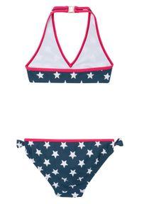 Bikini dziewczęce (2 części) bonprix ciemnoniebiesko-różowy hibiskus. Kolor: niebieski