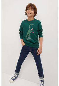 Zielona bluza Mango Kids z nadrukiem, na co dzień, casualowa