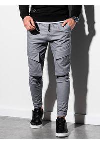 Ombre Clothing - Spodnie męskie joggery P999 - szare - XXL. Kolor: szary. Materiał: bawełna, elastan. Wzór: aplikacja