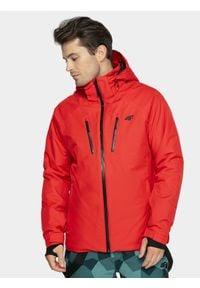 4f - Kurtka narciarska męska. Typ kołnierza: kaptur. Kolor: czerwony. Materiał: poliester, materiał. Sezon: zima. Sport: narciarstwo