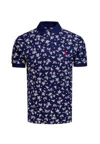 Niebieska koszulka polo Polo Ralph Lauren polo, długa, z nadrukiem