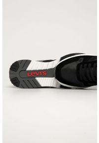 Czarne sneakersy Levi's® z okrągłym noskiem, na sznurówki, na spotkanie biznesowe