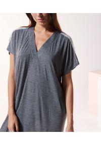 Warm Day Długa Koszula Nocna - Xl - Szary - Etam. Kolor: szary. Materiał: koronka, materiał. Długość: długie. Wzór: koronka