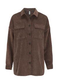 Brązowa koszula Soyaconcept z długim rękawem, elegancka, długa
