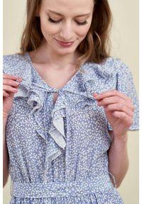 Marie Zélie - Sukienka Eulalia Vacanza błękitna. Kolor: niebieski. Materiał: wiskoza. Długość rękawa: krótki rękaw. Długość: midi