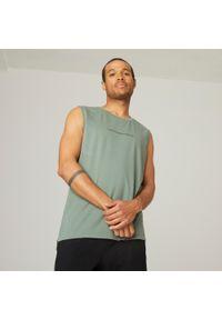 NYAMBA - Koszulka bez rękawów fitness. Kolor: zielony. Materiał: bawełna, poliester, materiał, elastan. Długość rękawa: bez rękawów. Styl: sportowy