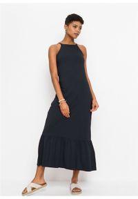 Długa sukienka z falbaną bonprix czarny. Kolor: czarny. Długość rękawa: na ramiączkach. Sezon: lato. Długość: maxi