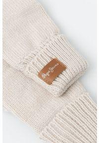 Pepe Jeans - Rękawiczki Alissa. Kolor: beżowy. Materiał: dzianina