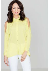 Katrus - Unikatowa Żółta Koszula z Wycięciami na Ramionach. Kolor: żółty. Materiał: wiskoza, poliester, elastan