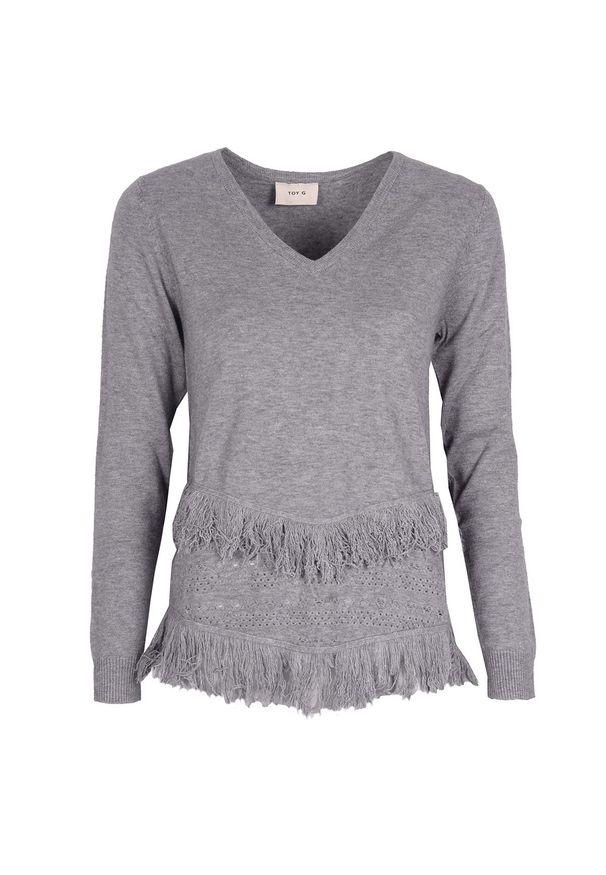 Sweter Toy G z długim rękawem, z aplikacjami, z dekoltem w kształcie v, długi