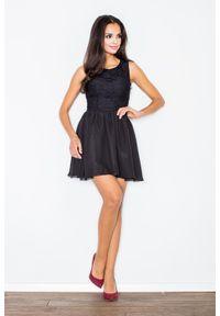 Czarna sukienka wizytowa Figl elegancka, bez rękawów