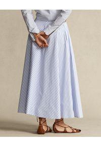 Ralph Lauren - RALPH LAUREN - Długa spódnica w paski. Kolor: biały. Materiał: len. Długość: długie. Wzór: paski