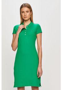 Zielona sukienka TOMMY HILFIGER mini, gładkie, prosta