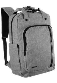 DAVID JONES - Miejski plecak j. szary unisex David Jones PC036 L.GREY. Kolor: szary. Materiał: skóra ekologiczna