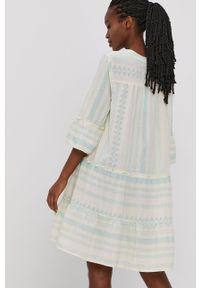 Vero Moda - Sukienka. Kolor: żółty. Materiał: tkanina, bawełna. Typ sukienki: rozkloszowane