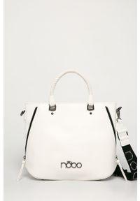 Biała shopperka Nobo skórzana, duża, na ramię