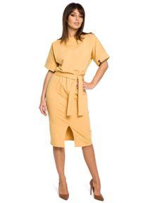 MOE - Żółta Sukienka Midi z Rozcięciem na Przodzie. Kolor: żółty. Materiał: bawełna, elastan. Długość: midi