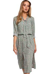 Sukienka MOE w kwiaty, elegancka, midi