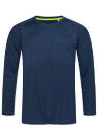 Niebieski t-shirt Stedman z długim rękawem, sportowy, długi