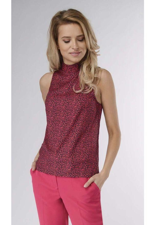 Czerwona bluzka Nommo z golfem, bez rękawów, elegancka