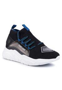 Czarne sneakersy Roberto Cavalli z cholewką, na co dzień