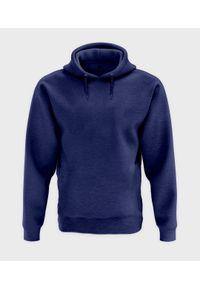 MegaKoszulki - Męska bluza z kapturem melanżowa (bez nadruku, gładka) - niebieska. Typ kołnierza: kaptur. Kolor: niebieski. Wzór: melanż, gładki