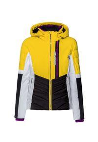 Descente - Kurtka narciarska DESCENTE MELINA. Kolor: żółty. Materiał: tkanina, puch, dzianina. Sport: narciarstwo
