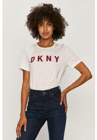 Biała bluzka DKNY z okrągłym kołnierzem, casualowa, na co dzień, z aplikacjami