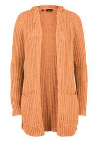 Sweter bez zapięcia z kapturem bonprix miodowy melanż. Typ kołnierza: kaptur. Kolor: pomarańczowy. Długość: długie. Wzór: melanż