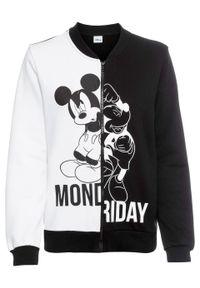 """Bluza rozpinana college """"Myszka Miki"""" bonprix czarno-biały. Kolor: czarny. Styl: sportowy"""