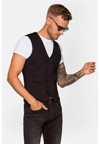 Lancerto - Kamizelka Czarna Capri. Typ kołnierza: golf. Kolor: czarny. Materiał: nylon, jeans, wiskoza, materiał, elastan, tkanina, poliester. Wzór: kolorowy