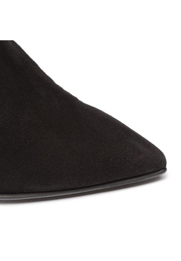 Czarny kozaki Eva Longoria z cholewką przed kolano, z cholewką