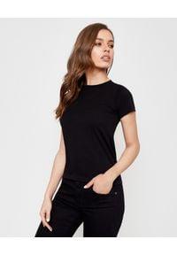 MONCLER - Czarna koszulka z krótkim rękawem. Okazja: na co dzień. Kolor: czarny. Materiał: bawełna. Długość rękawa: krótki rękaw. Długość: krótkie. Wzór: nadruk. Styl: casual