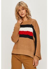 Wielokolorowy sweter TOMMY HILFIGER z okrągłym kołnierzem, z długim rękawem