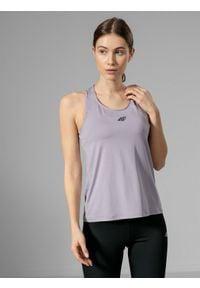 4f - Top do biegania damski. Kolor: fioletowy. Materiał: dzianina. Sport: bieganie