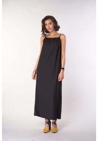 Czarna sukienka wizytowa Nommo na lato, maxi