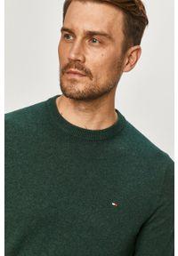 Zielony sweter TOMMY HILFIGER casualowy, na co dzień