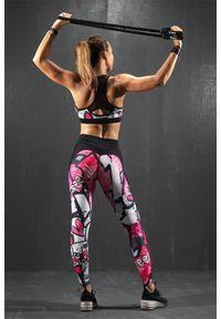 Czarne legginsy sportowe FJ! do tańczenia, z nadrukiem