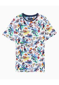 Niebieski t-shirt Ralph Lauren w kolorowe wzory, polo