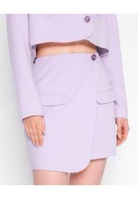 MARLU - Lawendowa spódnica z zakładką Berno. Kolor: wielokolorowy, różowy, fioletowy. Materiał: wełna. Wzór: gładki. Styl: elegancki