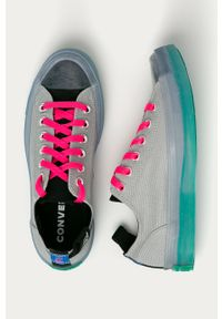 Szare tenisówki Converse na średnim obcasie, z okrągłym noskiem