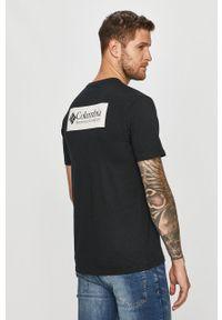 Czarny t-shirt columbia casualowy, na co dzień, z nadrukiem