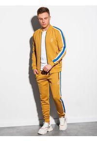 Żółte spodnie Ombre Clothing z haftami, retro #7