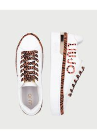 Liu Jo - LIU JO - Białe sneakersy ze zwierzęcymi wstawkami. Zapięcie: sznurówki. Kolor: biały. Materiał: guma, jeans. Wzór: motyw zwierzęcy