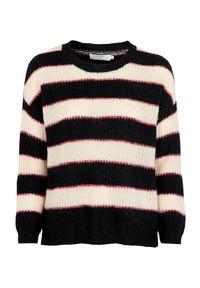 Sweter Cream w paski, z okrągłym kołnierzem, klasyczny