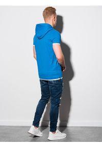 Ombre Clothing - T-shirt męski z kapturem bez nadruku S1376 - niebieski - XXL. Okazja: na co dzień. Typ kołnierza: kaptur. Kolor: niebieski. Materiał: bawełna, jersey, dzianina. Styl: klasyczny, casual